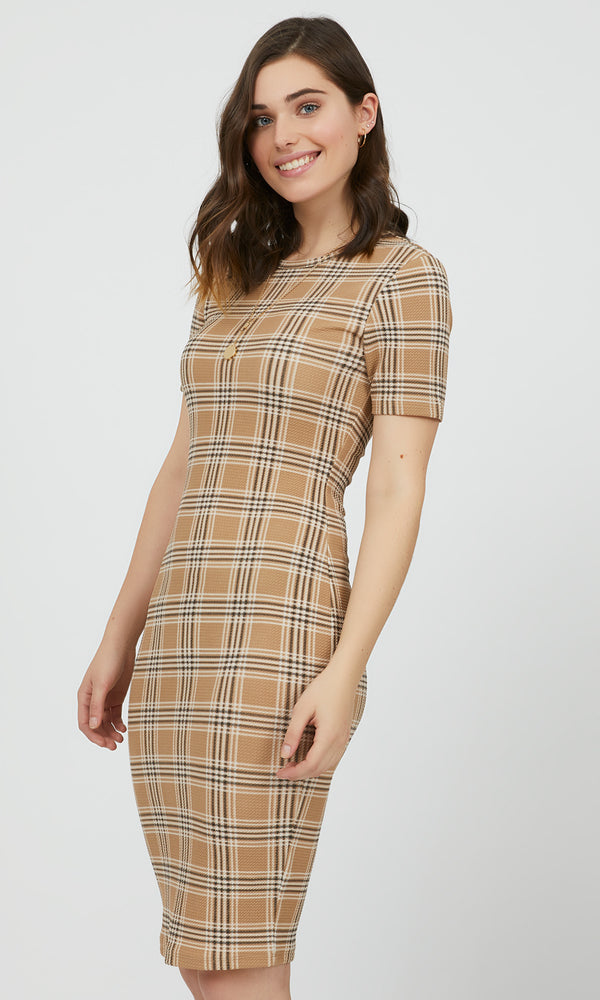 Short Sleeve Plaid Sheath Dress