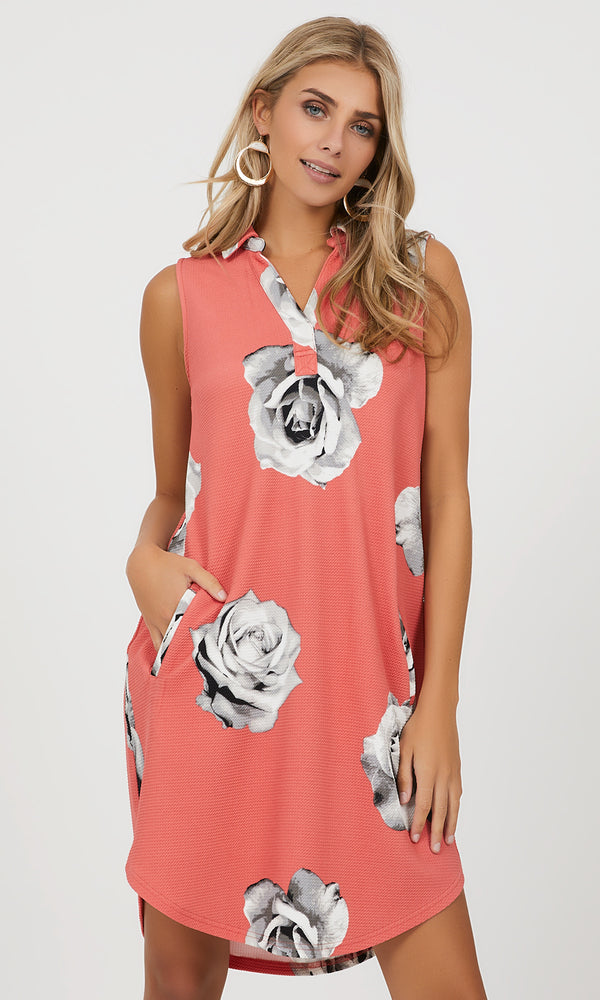 Sleeveless Floral A-line Dress