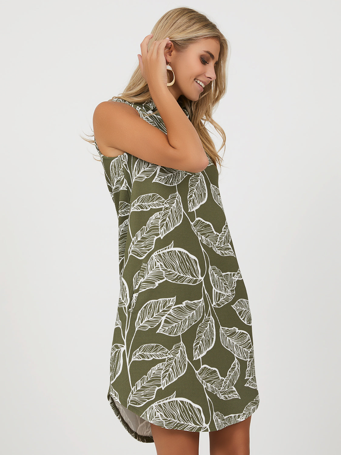 Sleeveless Leaf Print A-line Dress