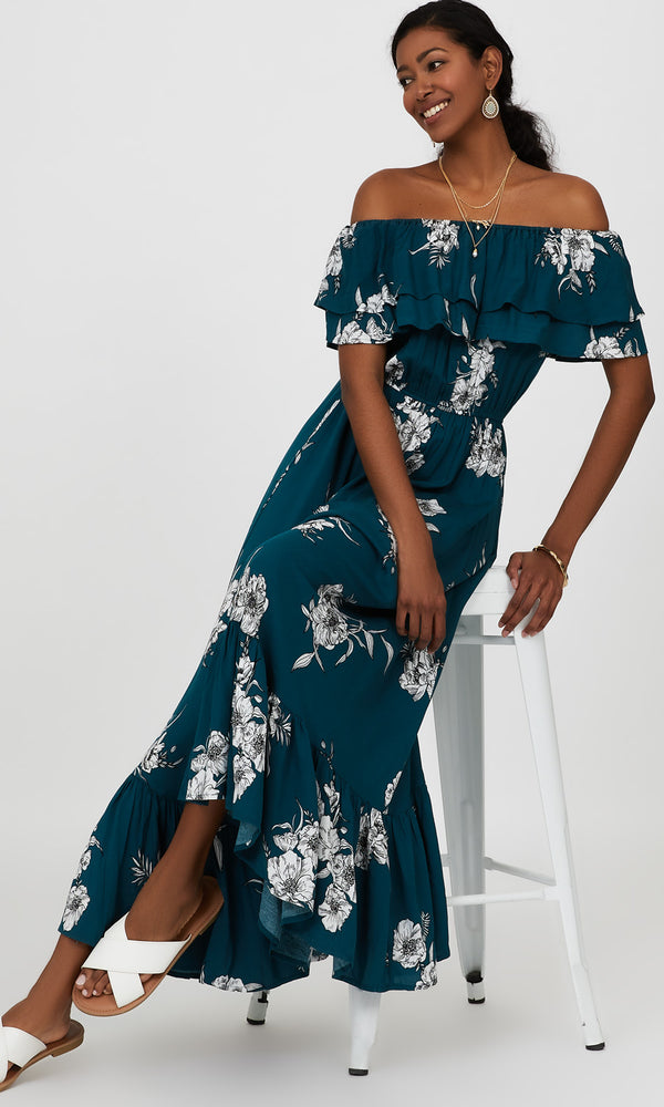 Off-The-Shoulder Tiered Floral Maxi Dress