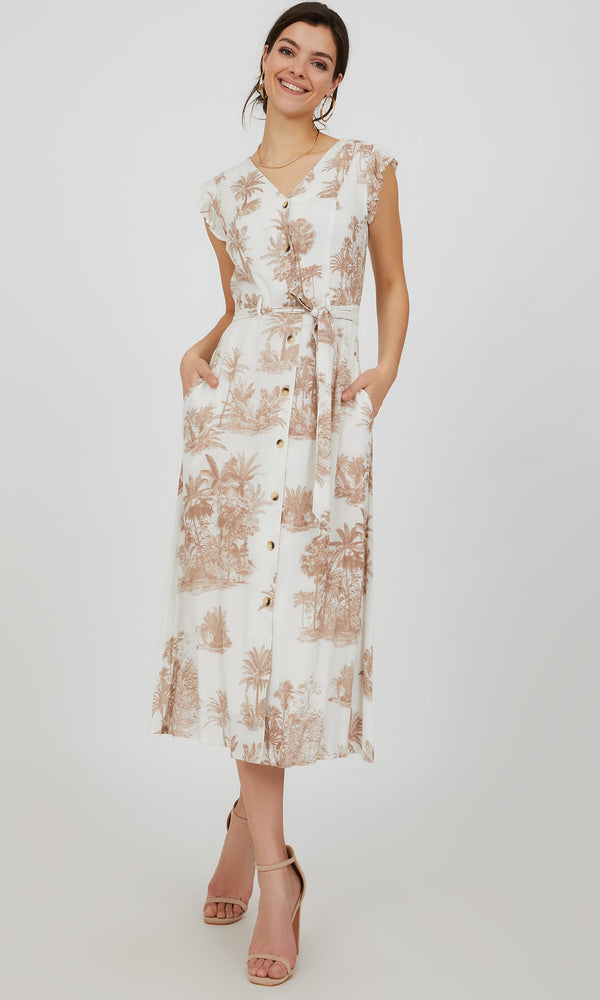 Flutter Sleeve Button-Down Toile Print Midi Dress