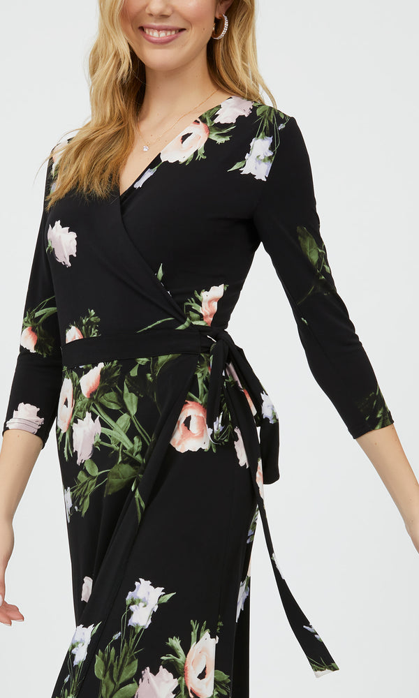 Long Sleeve Floral Wrap Maxi Dress