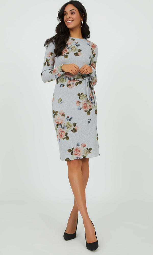Floral Bouquet Knit Midi Dress