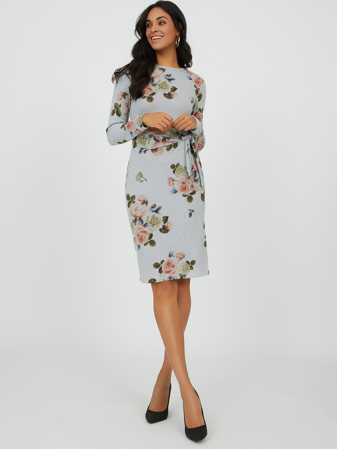 Floral Bouquet Knit Mini Dress