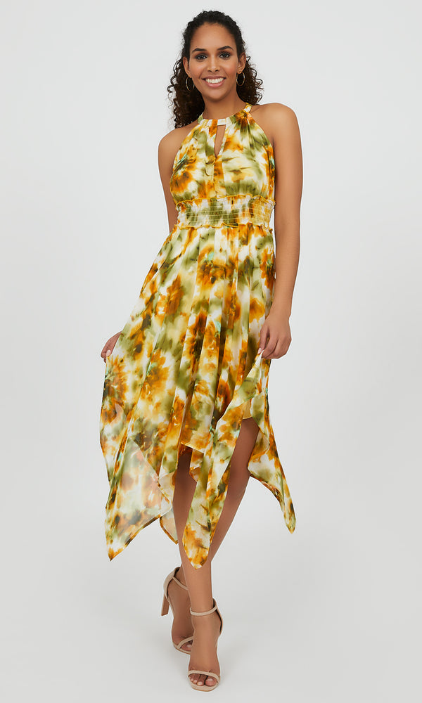 Halter Neck Floral Handkerchief Dress