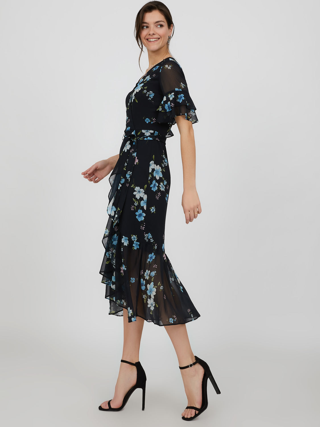 Flutter Sleeve Tiered Floral Midi Dress