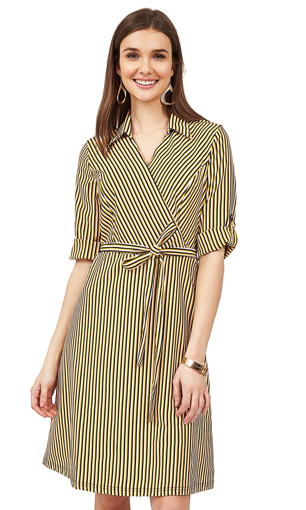 Striped Crossover Shirt Dress