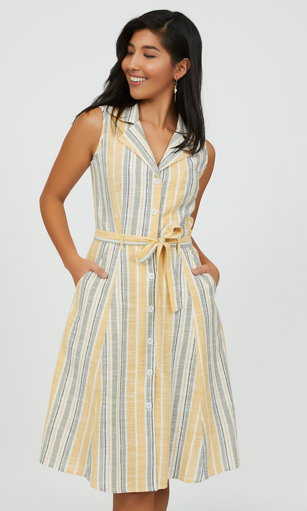 Sleeveless Striped Midi Shirt Dress