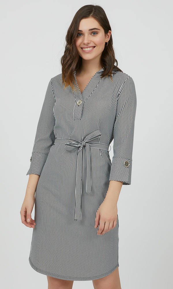 ¾ Sleeve Striped Shirt Dress