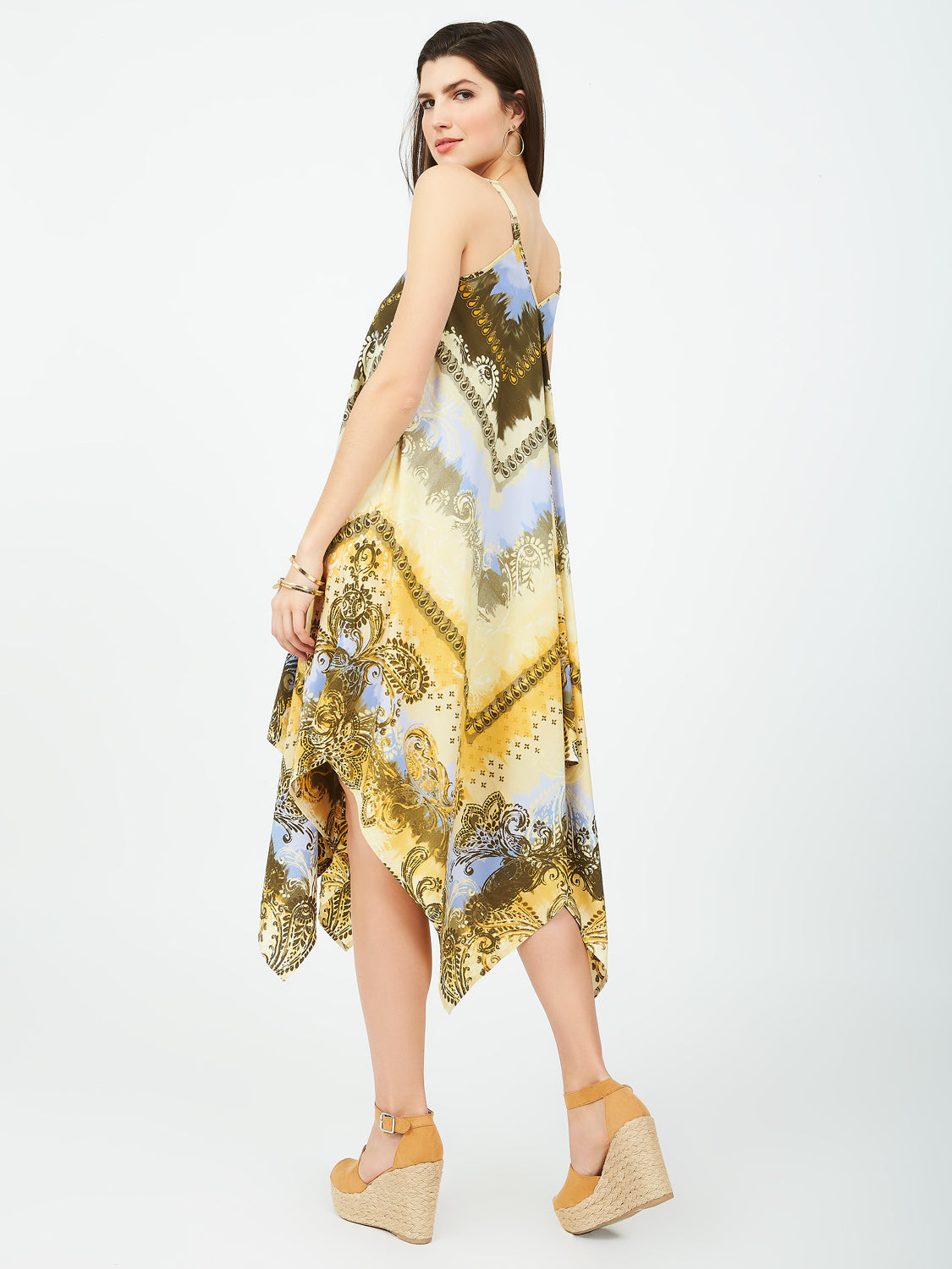 Scarf Print Handkerchief Hem Dress