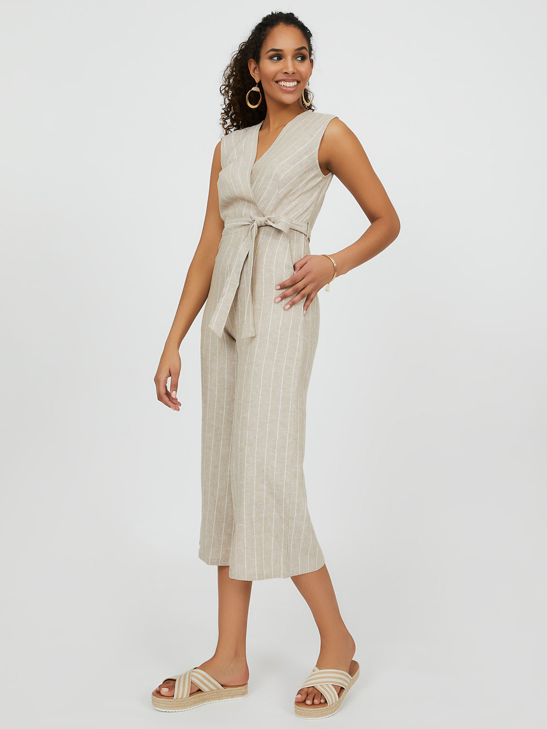 Belted Linen Striped Gaucho Jumpsuit