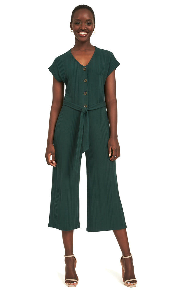 Ribbed Gaucho Self-Tie Sash Jumpsuit