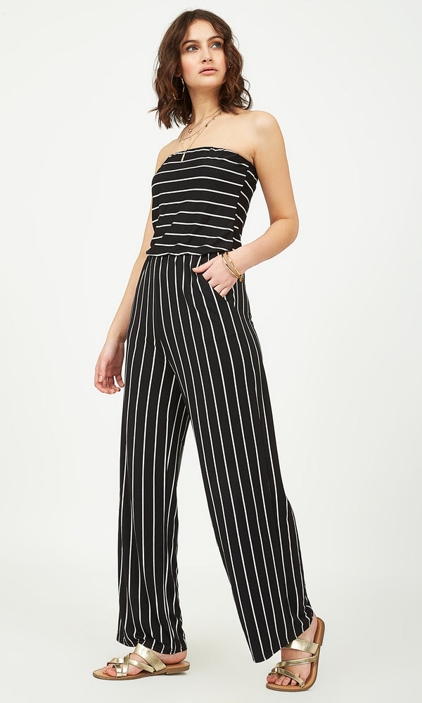 Striped Tube Gaucho Jumpsuit