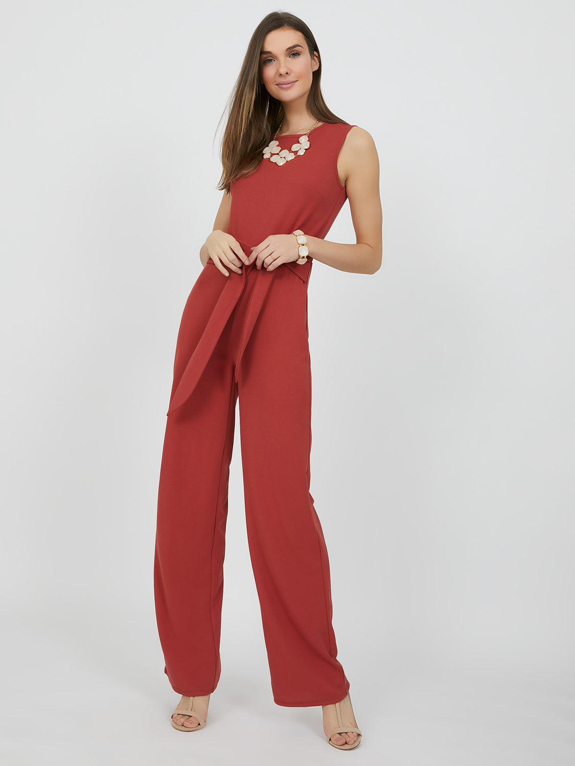 Sleeveless Sash-Tie Jumpsuit