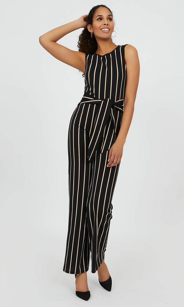 Sash-Tie Wide Leg Striped Jumpsuit