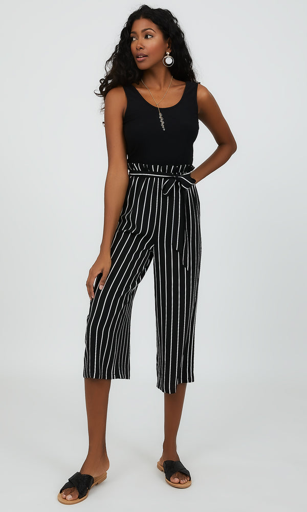 Sleeveless 2fer Paperbag Waist Striped Jumpsuit