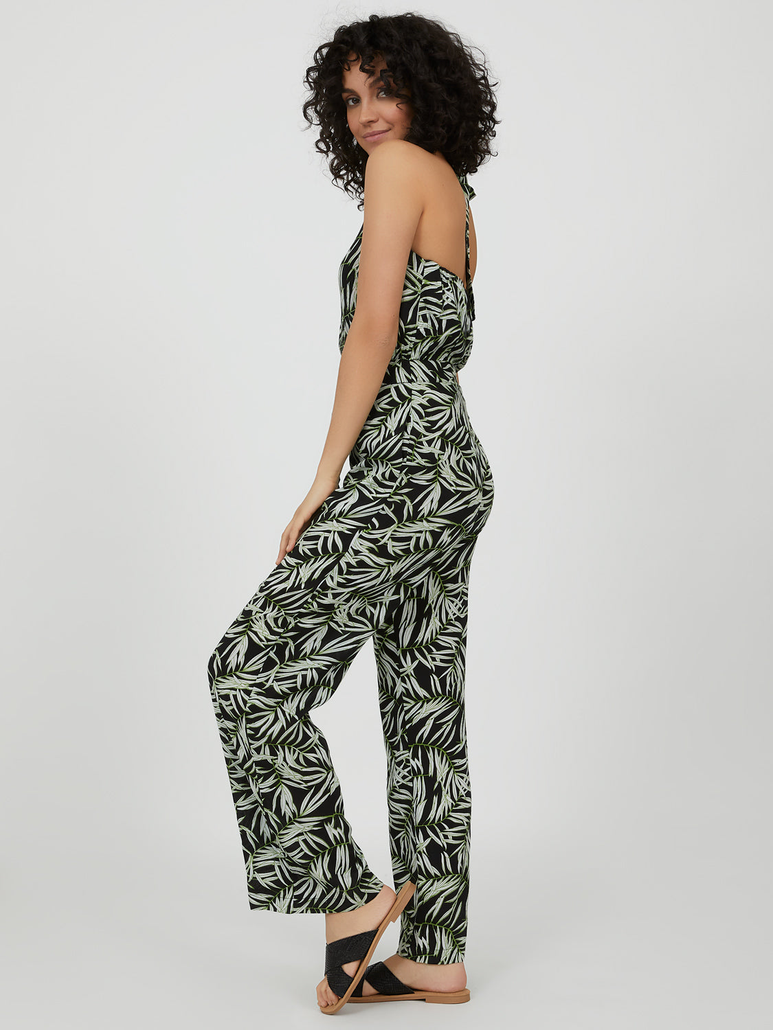 Belted Tropical Print Halter Neck Jumpsuit