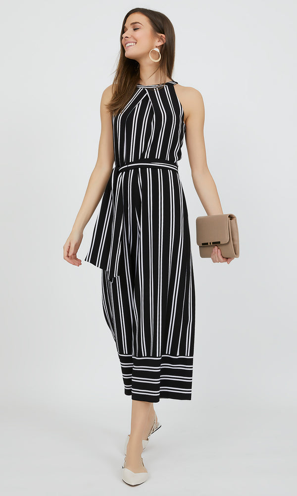 Halter Neck Striped Gaucho Jumpsuit