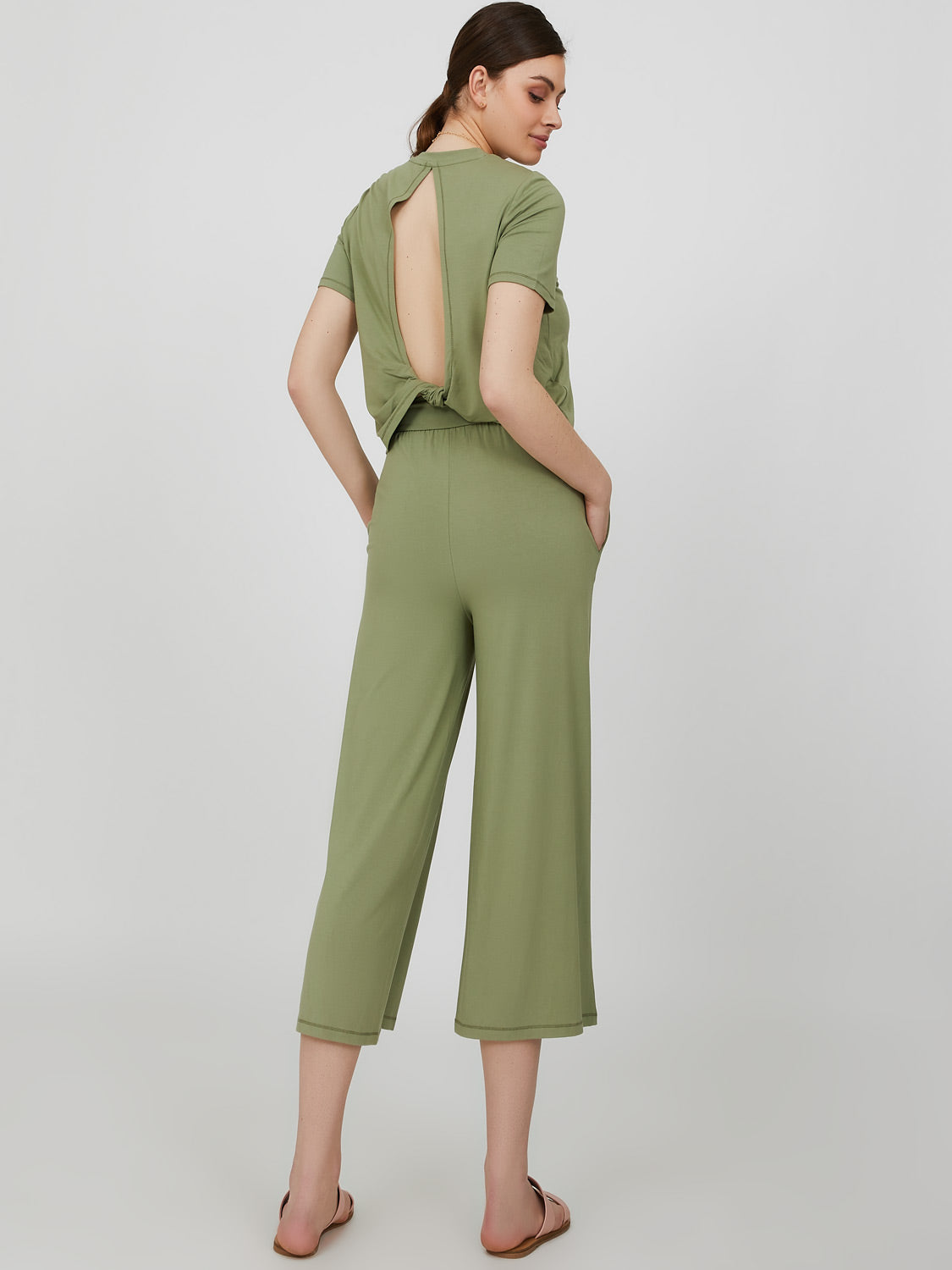Short Sleeve Open Back Wide Leg Jumpsuit
