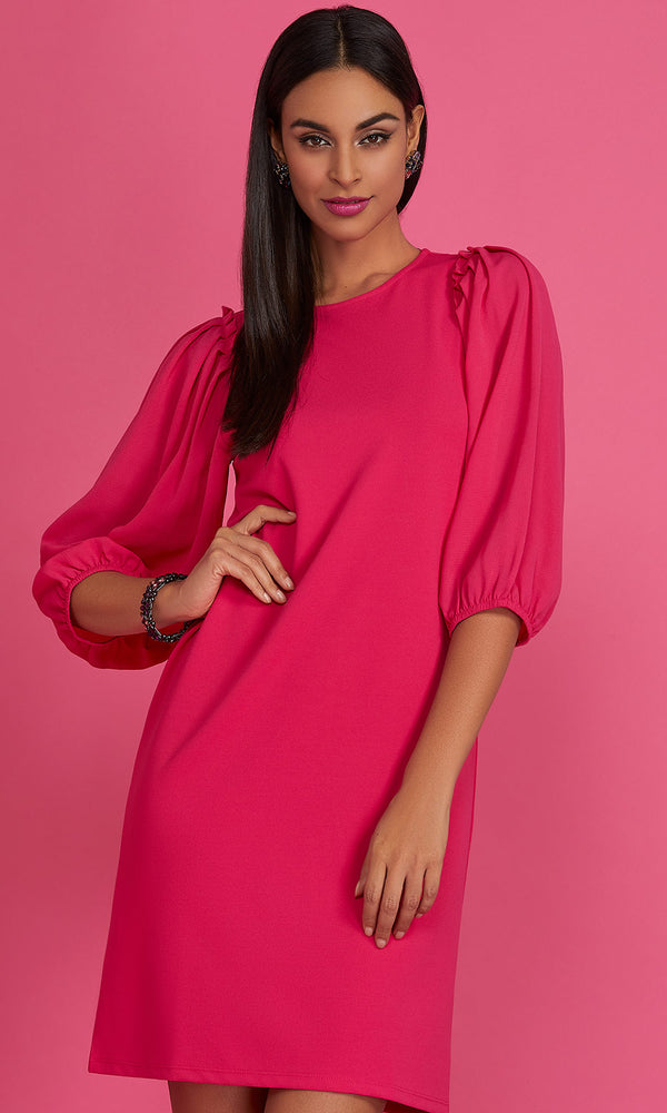 ¾ Balloon Sleeve Ruffle Mini Dress