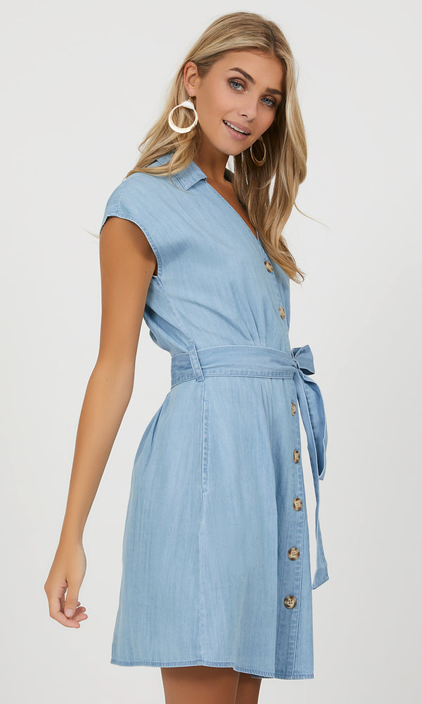Button-Down Denim Mini Dress