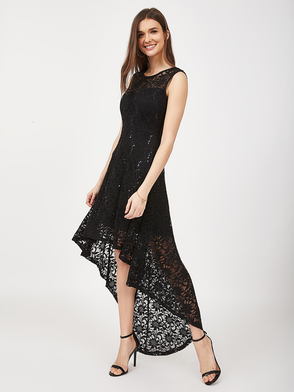 3b81772f Lace Sequin High-Low Dress