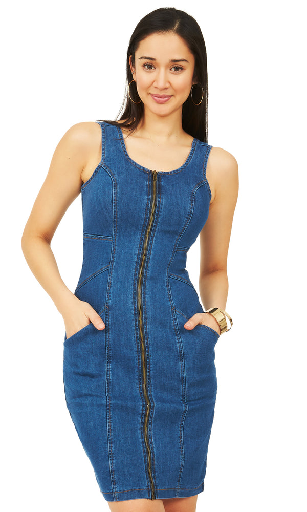 Sleeveless Sheath Denim Dress