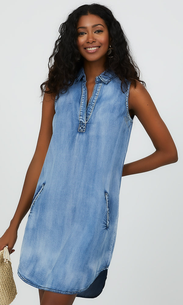Sleeveless Vintage Wash Denim Dress