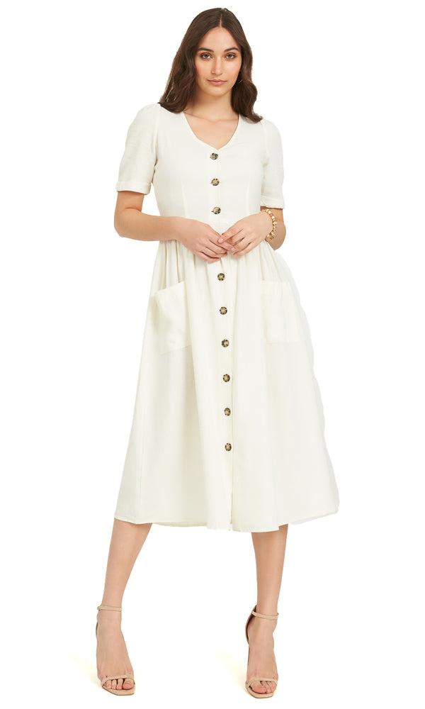 c2c70a9b9d ... Short Sleeve Linen Blend Midi Dress