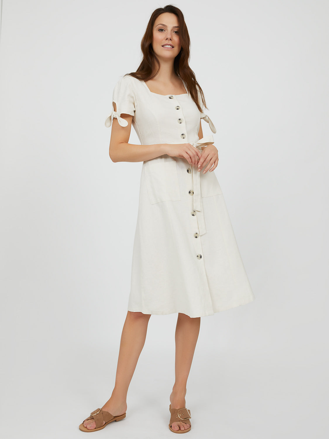 Belted Linen Button-Down Midi Dress