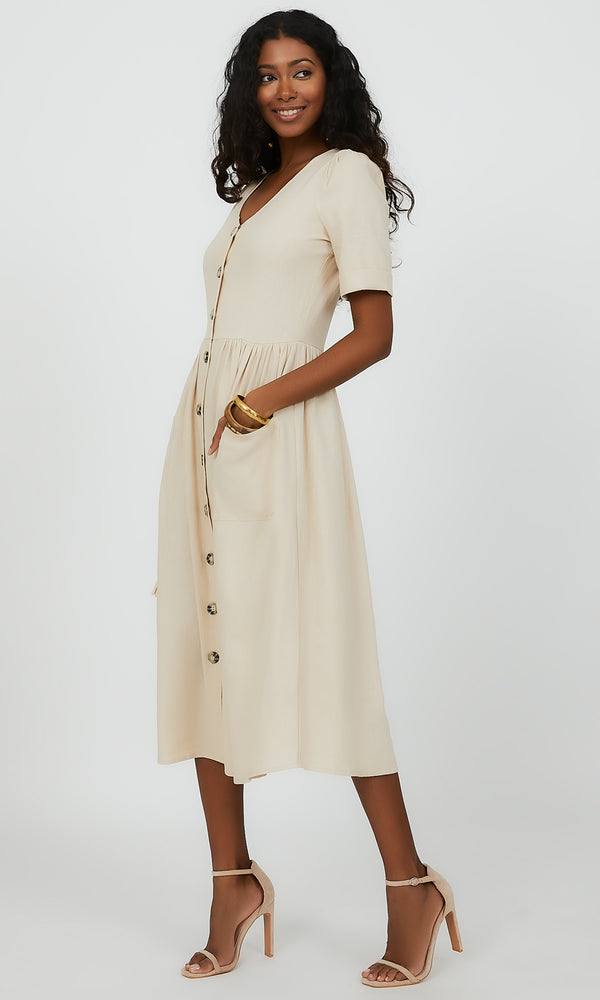 Linen Blend Button-Down Midi Dress