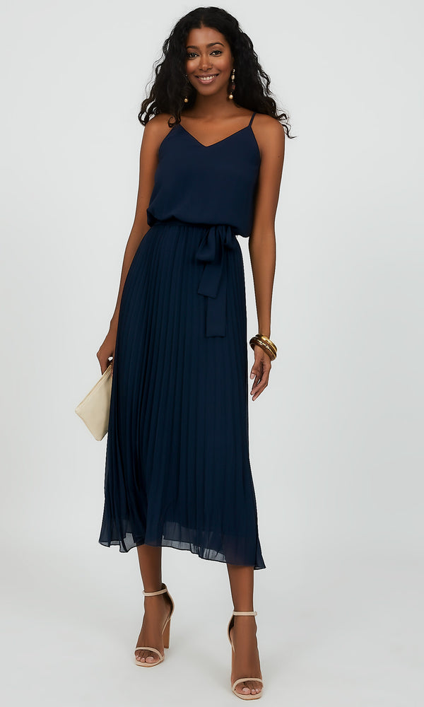 Spaghetti Strap Crystal Pleat Midi Dress