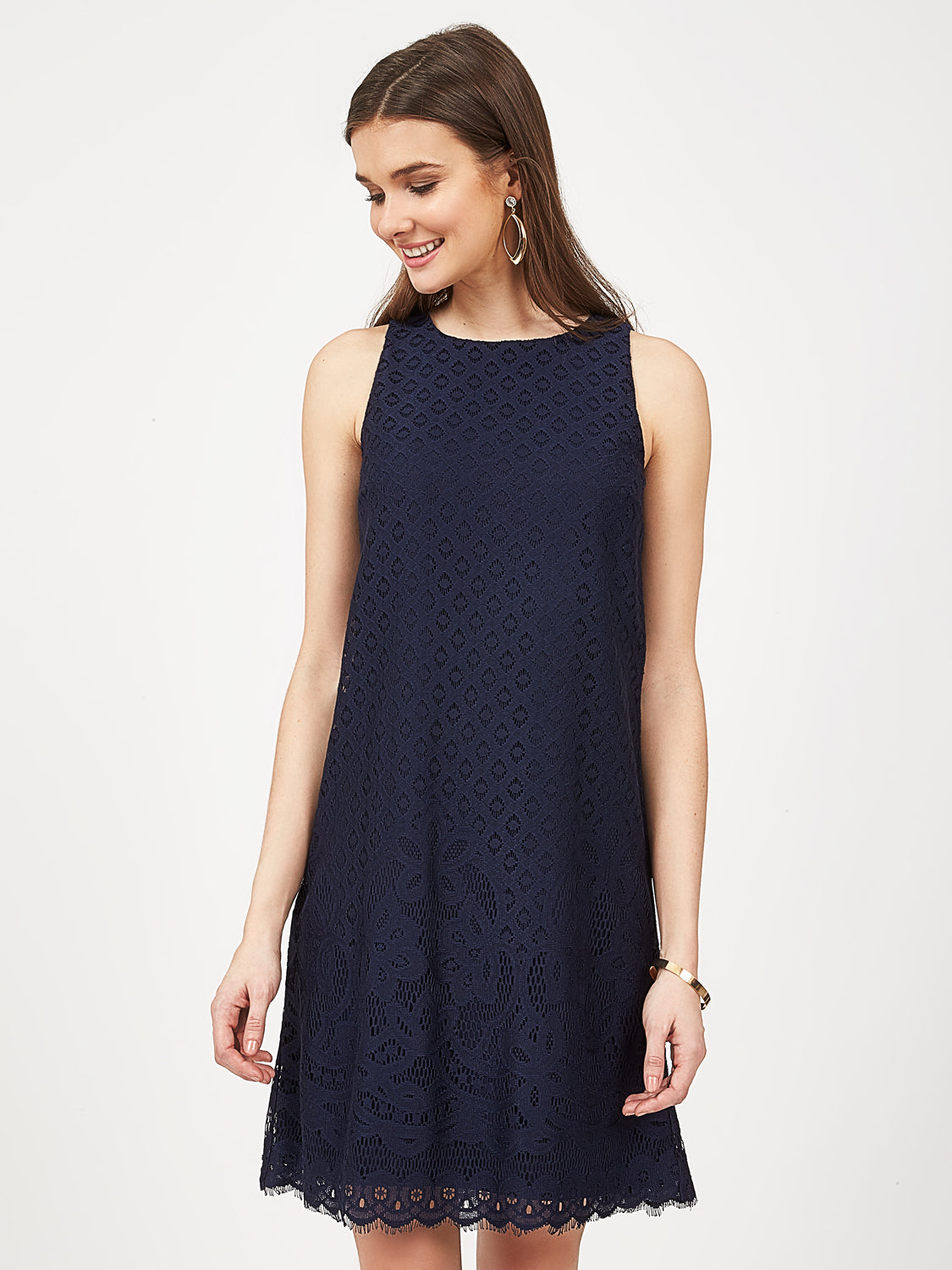 Sleeveless Scalloped Hem Dress