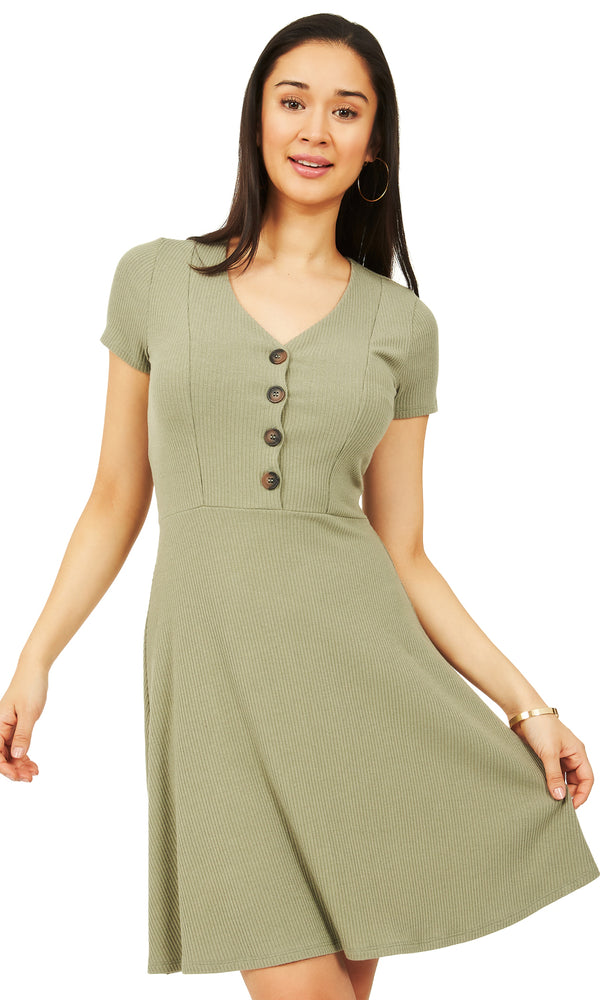 Ribbed Knit Fit And Flare Dress With Buttons