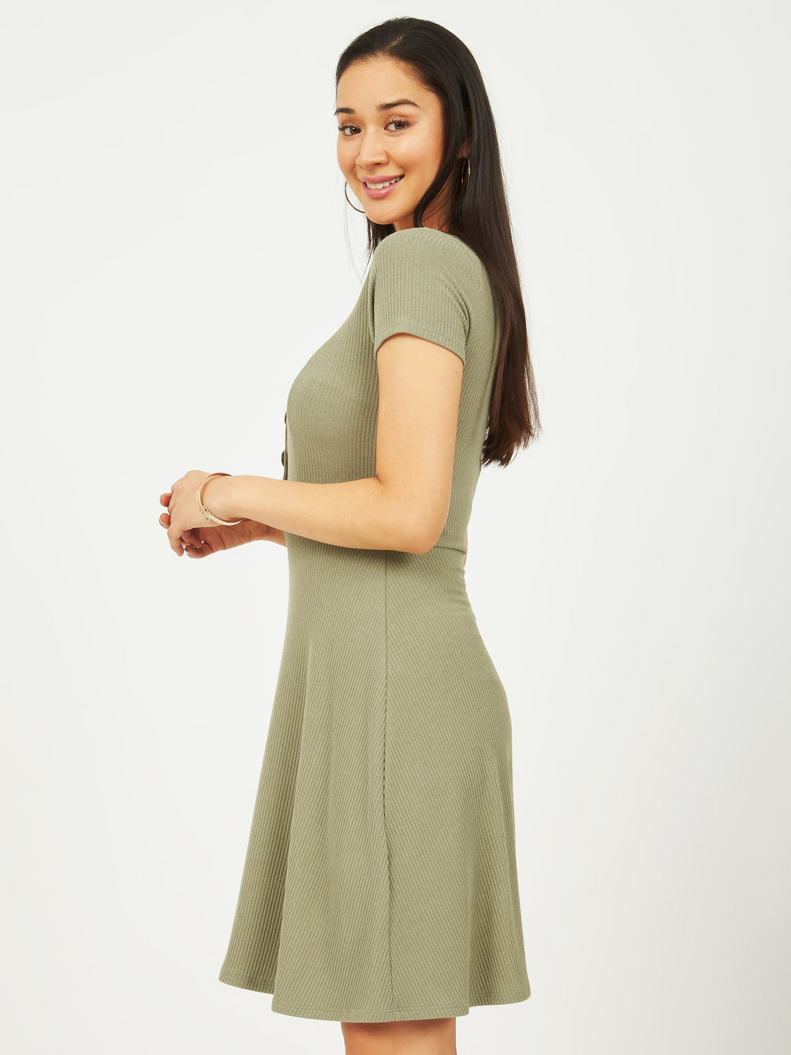 a30ffcfe738 Ribbed Knit Fit And Flare Dress With Buttons ...