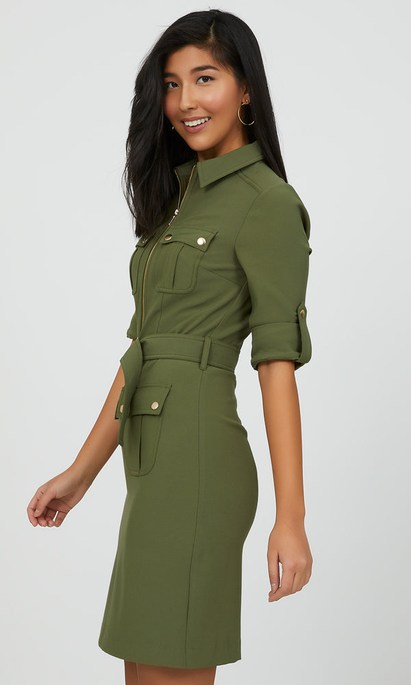 Belted Utility Shirt Mini Dress