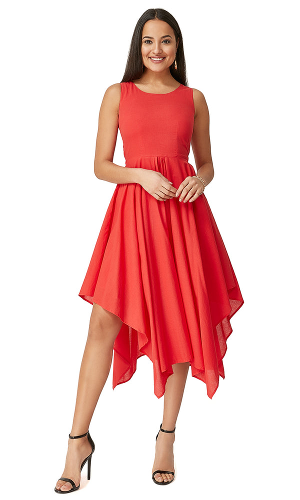 Sleeveless Handkerchief Hem Dress