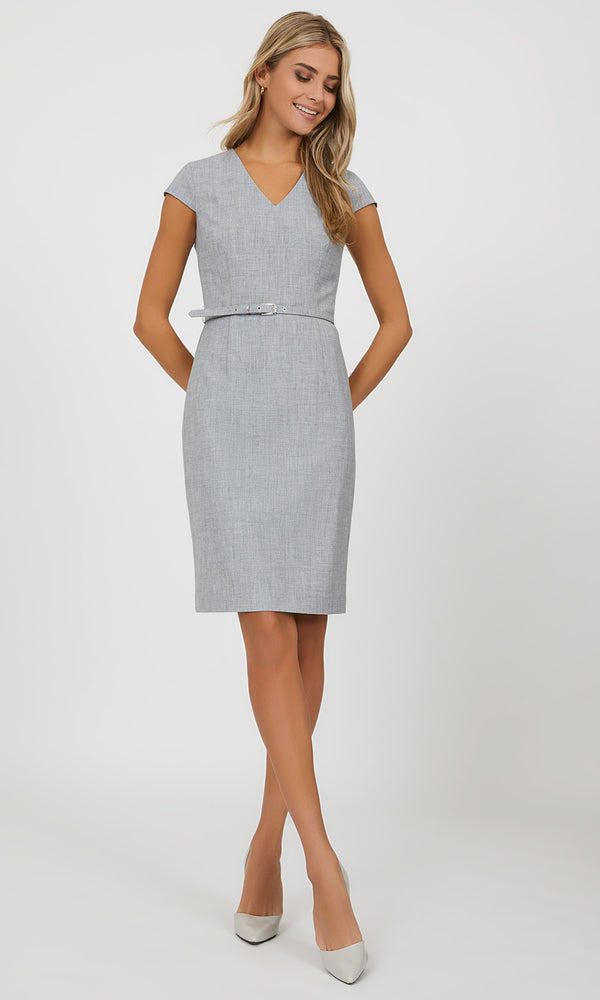 Belted Cap Sleeve Work Dress
