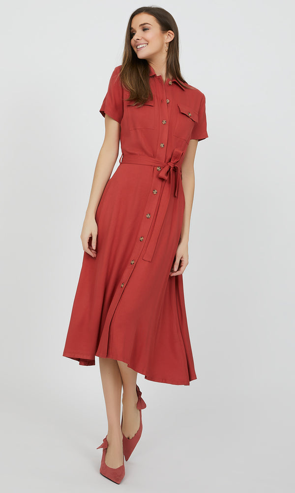 Short Sleeve Button-Down Shirt Dress