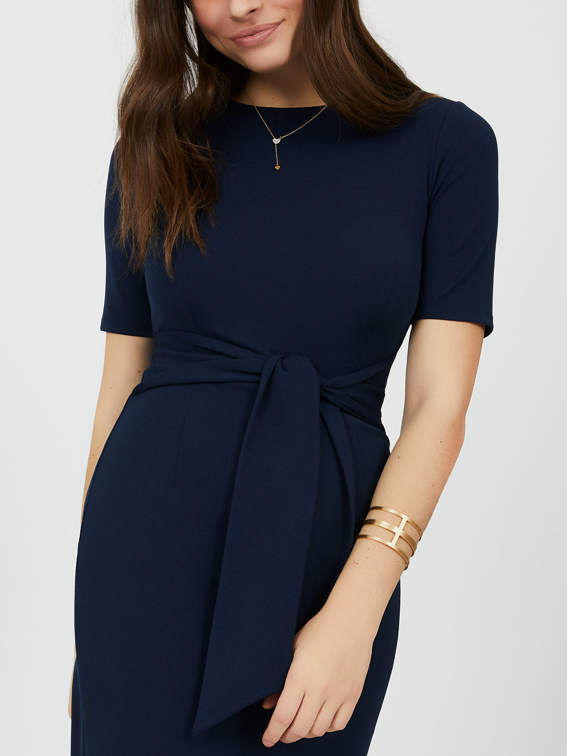 Fitted Sash Tie Sheath Dress