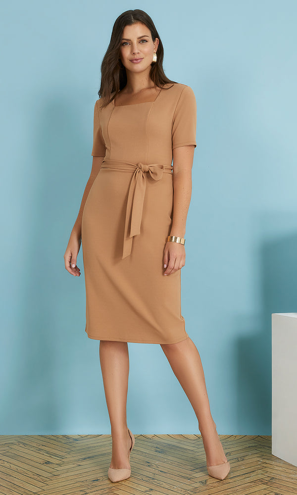 Belted Square Neck Midi Dress