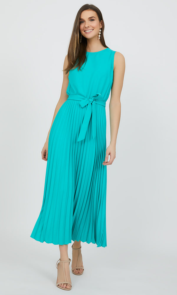 Crystal Pleated Midi Dress