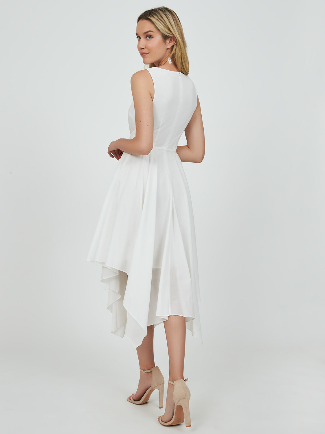 Sleeveless Cotton Handkerchief Midi Dress
