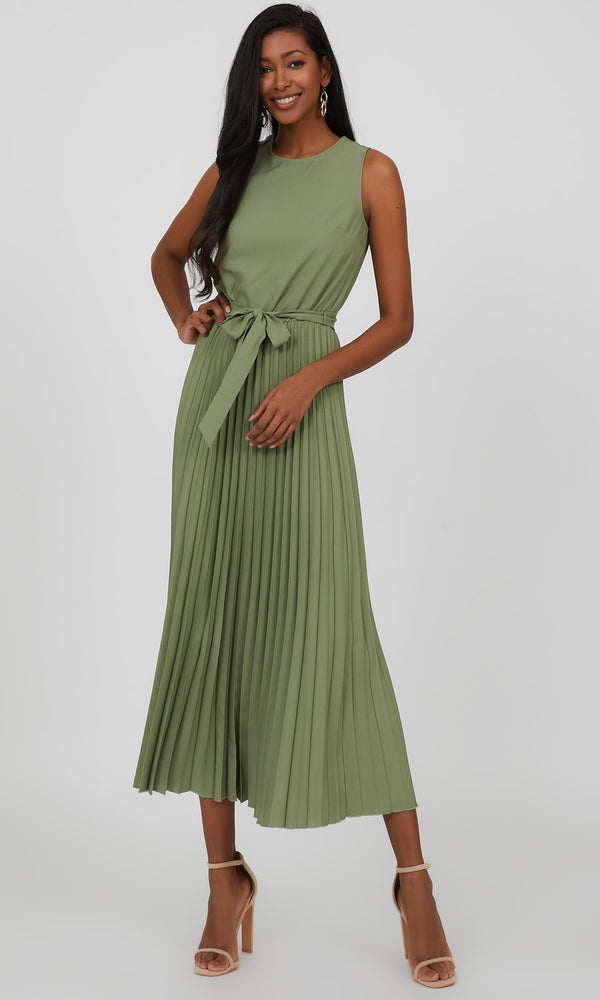Sleeveless Crystal Pleat Midi Dress