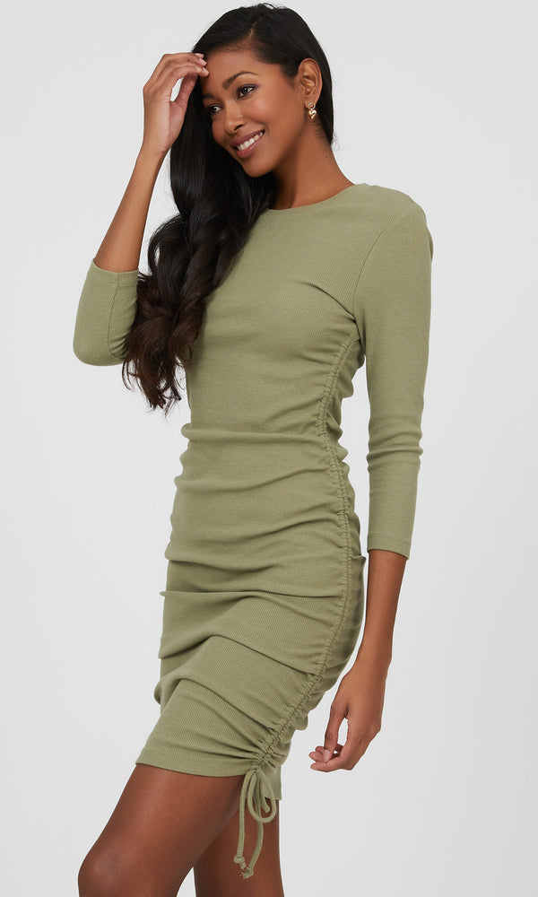 ¾ Sleeve Rib Knit Midi Dress