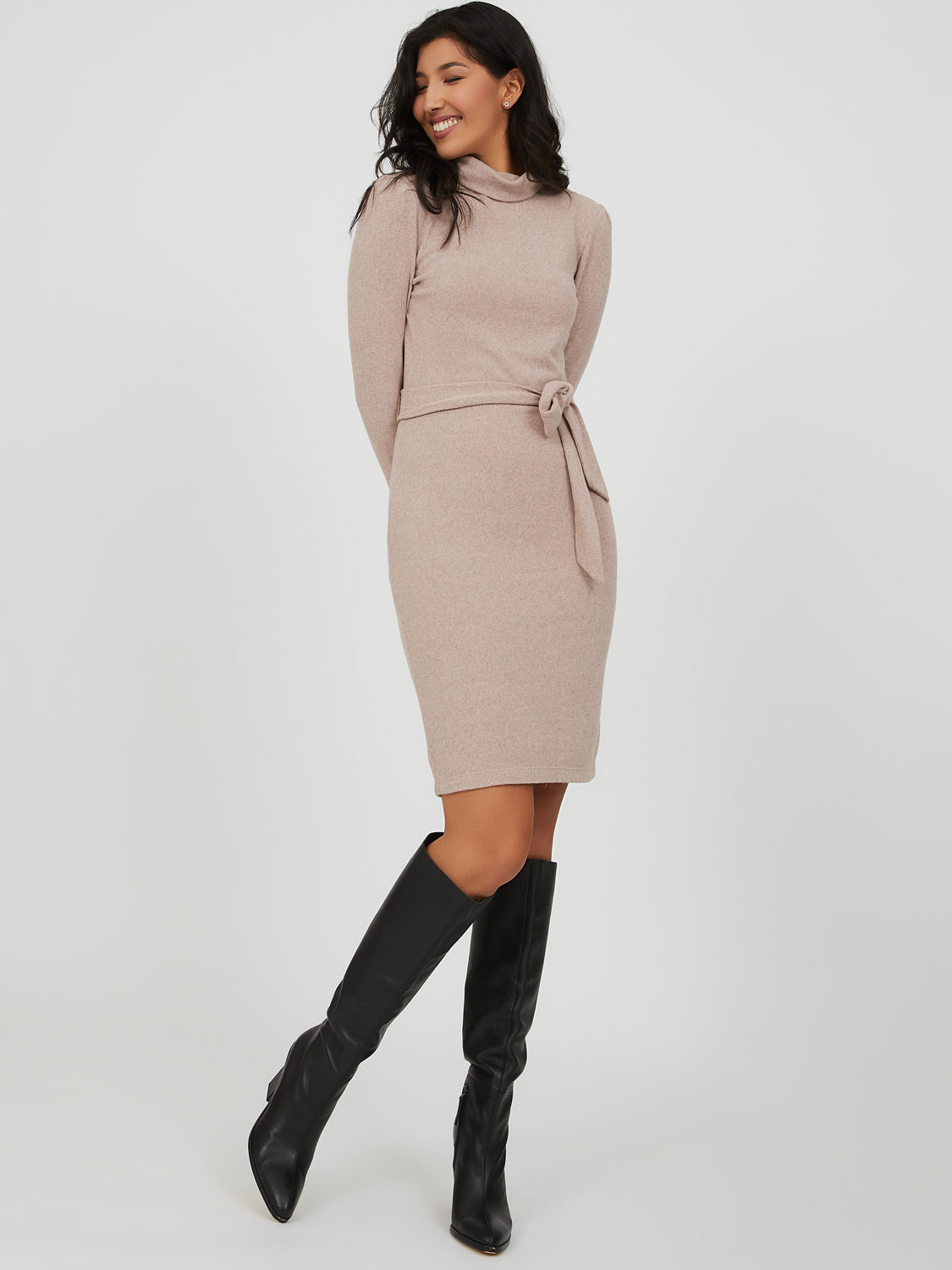 Funnel Neck Knit Dress