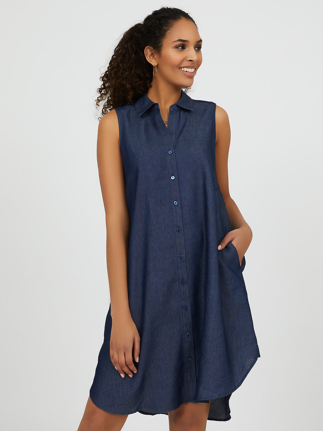 Sleeveless A-line Denim Shirt Dress