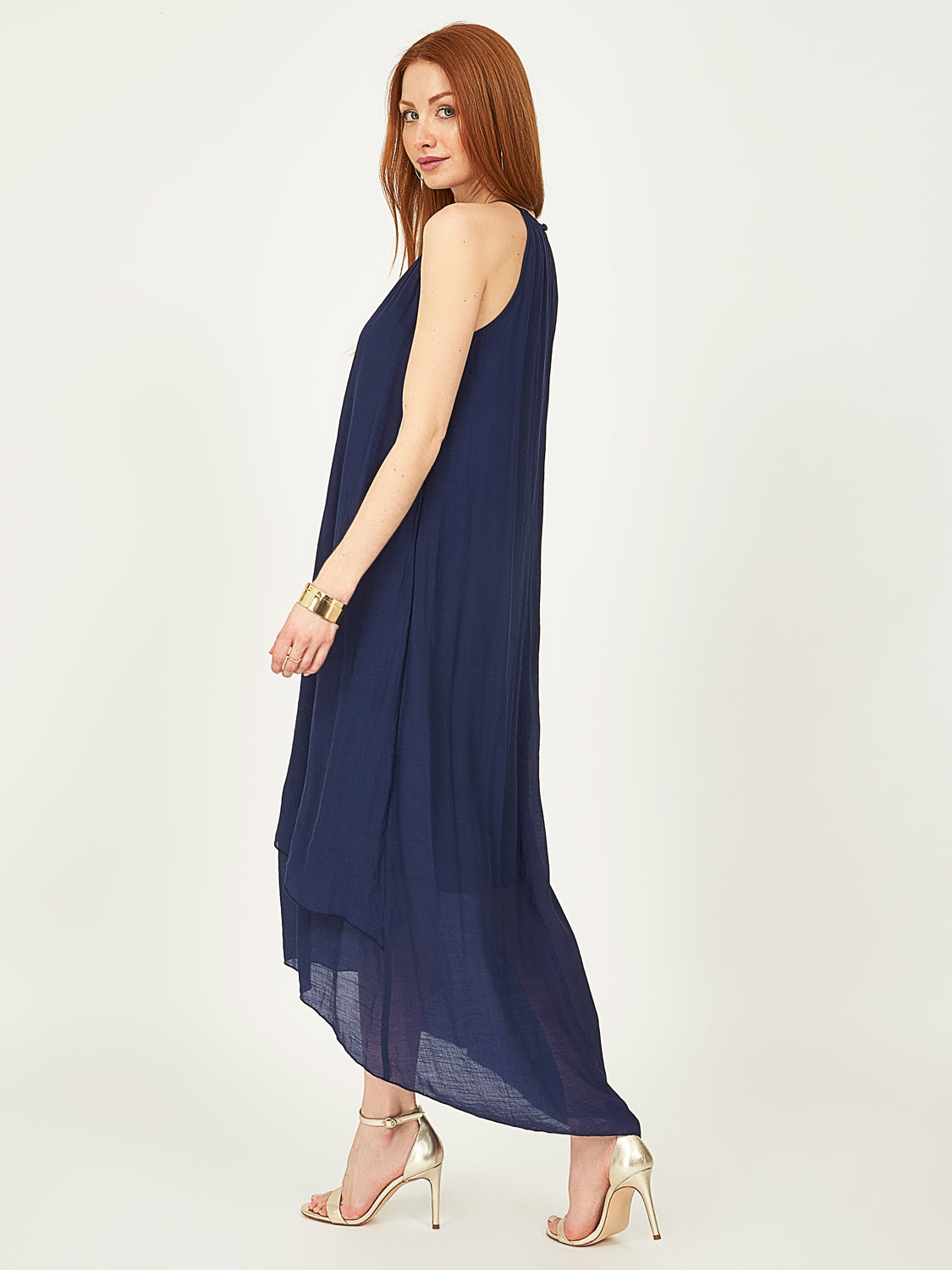 Sleeveless High-Low Midi Dress