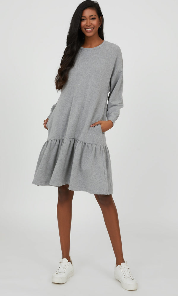 Flounce Fleece Mini Dress