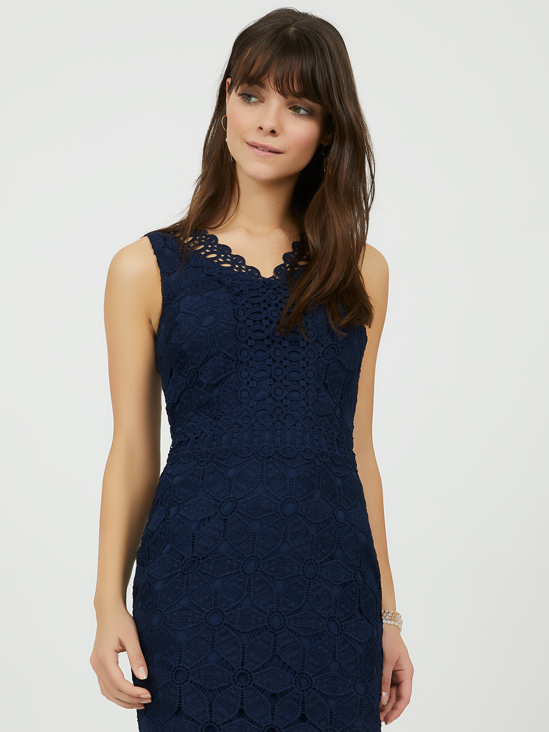 Embroidered Crochet Lace Sheath Dress